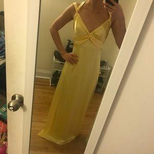 Yellow satin BCBG formal gown dress